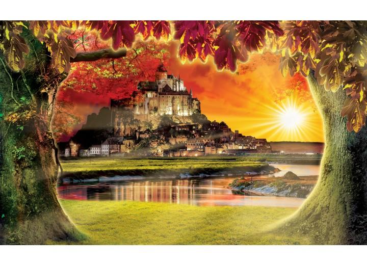 Fotobehang Vlies | Natuur, Zonsondergang | Oranje | 254x184cm