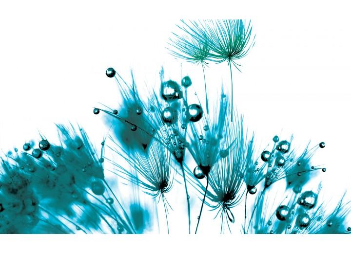 Fotobehang Vlies | Bloemen | Wit, Turquoise | 254x184cm