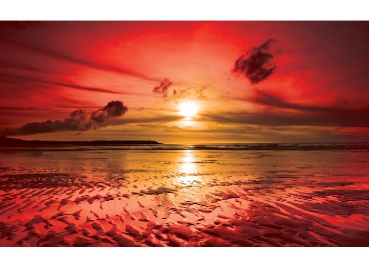 Fotobehang Vlies | Zee, Zonsondergang | Rood | 254x184cm