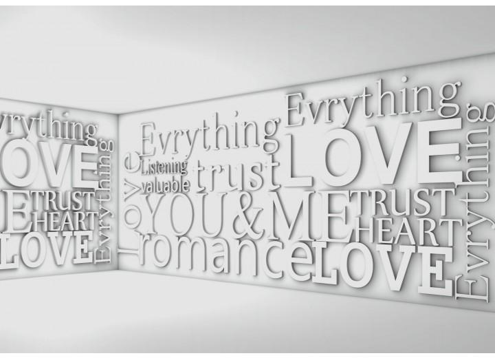 Fotobehang Vlies | 3D, Tekst | Grijs | 254x184cm