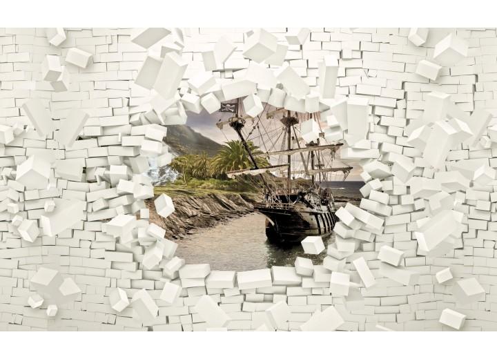 Fotobehang Vlies | Muur, Boot | Wit | 254x184cm