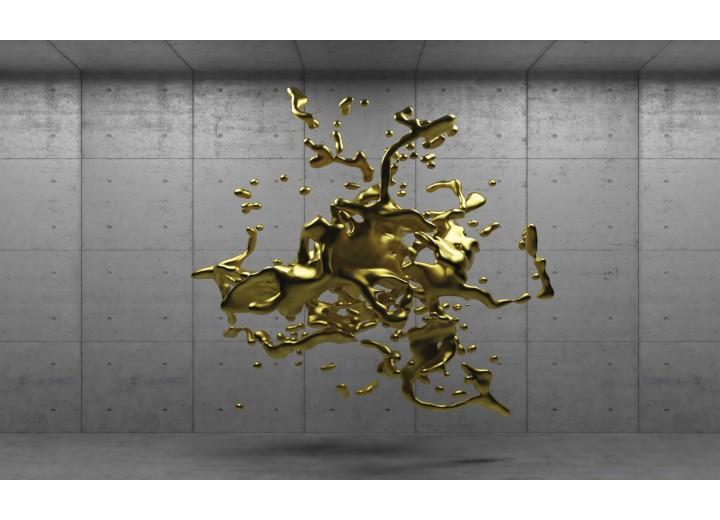 Fotobehang Vlies   3D, Design   Goud   254x184cm