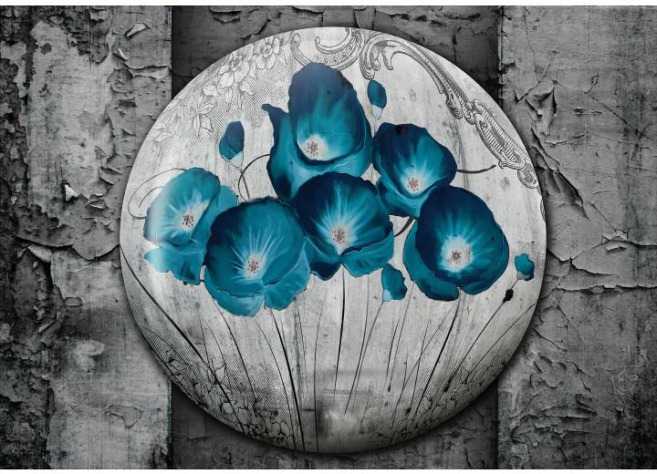 Fotobehang Vlies | Bloemen, Klaproos | Turquoise | 254x184cm