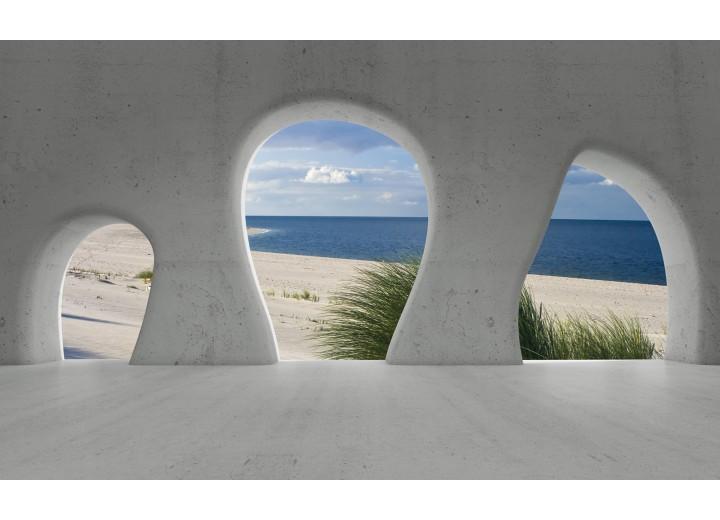 Fotobehang Vlies | Strand, Muur | Grijs | 254x184cm