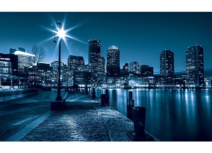 Fotobehang Vlies   Steden, Skyline   Blauw   254x184cm