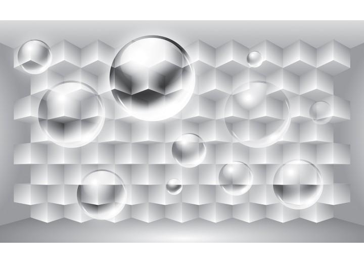 Fotobehang Vlies | 3D, Design | Zilver | 254x184cm