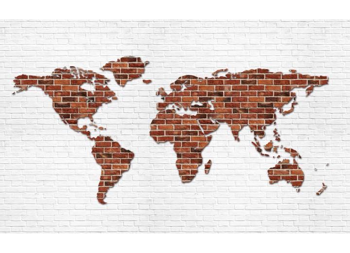 Fotobehang Vlies | Wereldkaart, Muur | Bruin | 254x184cm