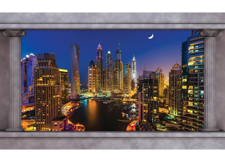 Fotobehang Vlies | Skyline, Nacht | Blauw | 254x184cm