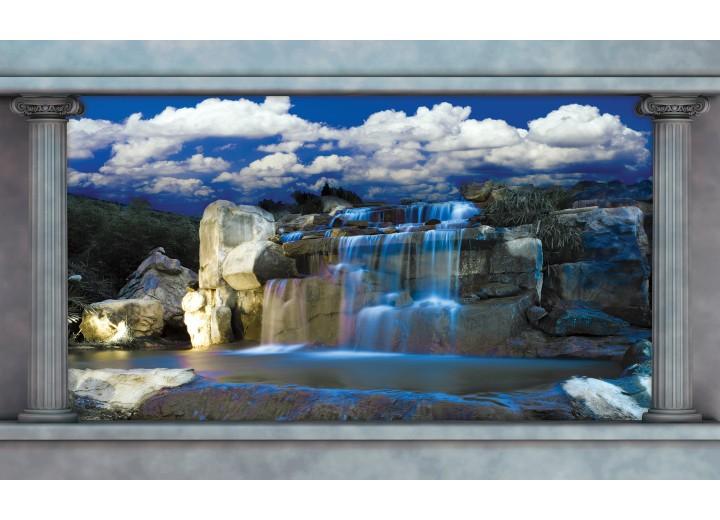 Fotobehang Vlies | Waterval, Natuur | Blauw | 254x184cm