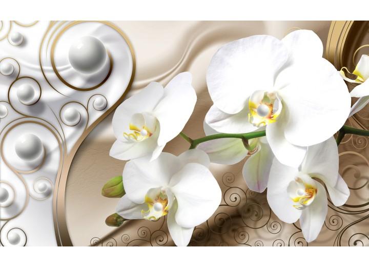 Fotobehang Vlies | Orchidee, Bloemen | Zilver, Goud | 254x184cm
