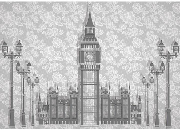 Fotobehang Vlies   Big Ben   Grijs   254x184cm