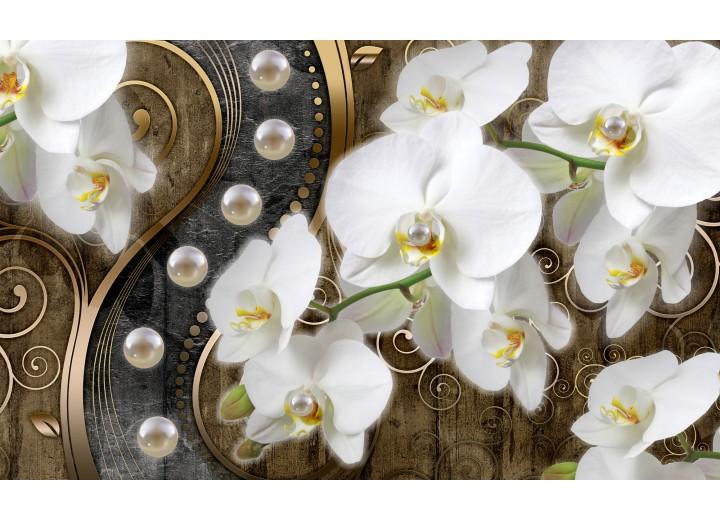 Fotobehang Vlies   Orchidee, Bloemen   Wit, Goud   254x184cm