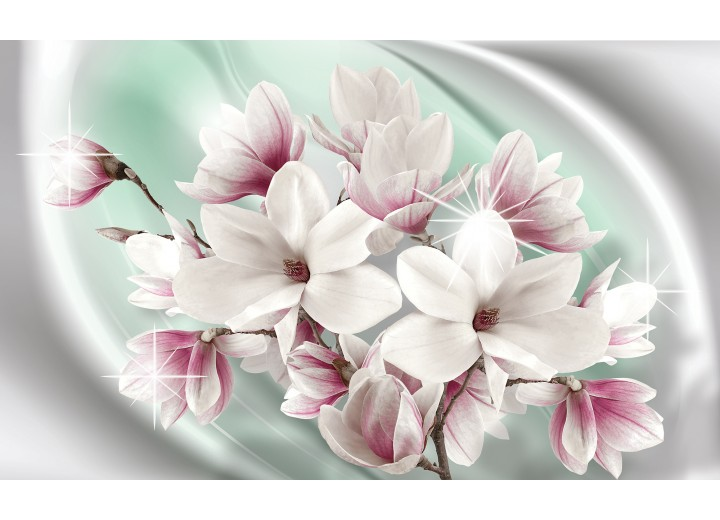 Fotobehang Vlies   Magnolia, Bloemen   Zilver   254x184cm