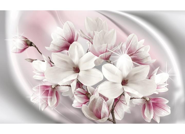 Fotobehang Vlies | Magnolia, Bloemen | Roze | 254x184cm