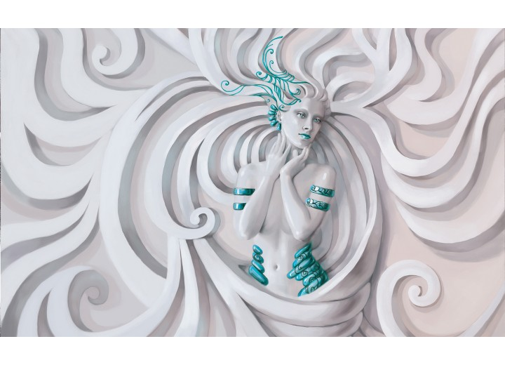 Fotobehang Vlies | 3D, Modern | Turquoise | 254x184cm
