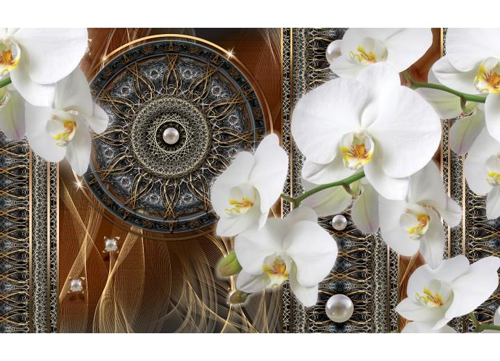 Fotobehang Vlies | Klassiek, Orchidee | Bruin | 254x184cm