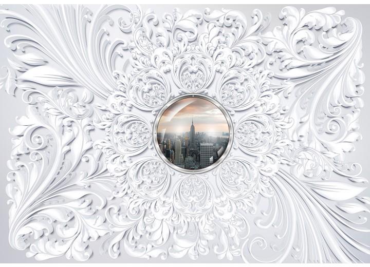 Fotobehang Vlies   Skyline, Modern   Wit   254x184cm