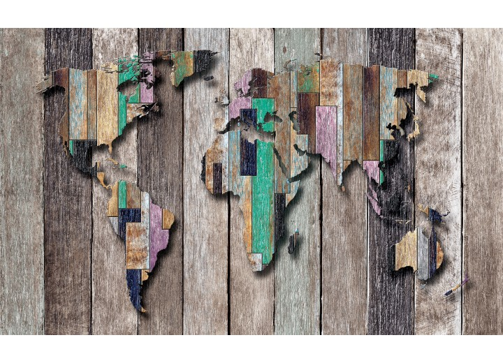 Fotobehang Vlies | Wereldkaart, Hout | Grijs, Bruin | 254x184cm