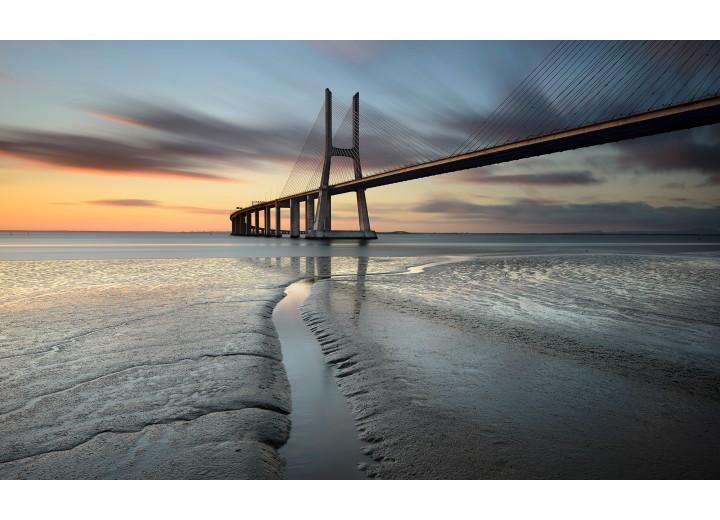 Fotobehang Vlies | Brug, Zee | Grijs | 254x184cm