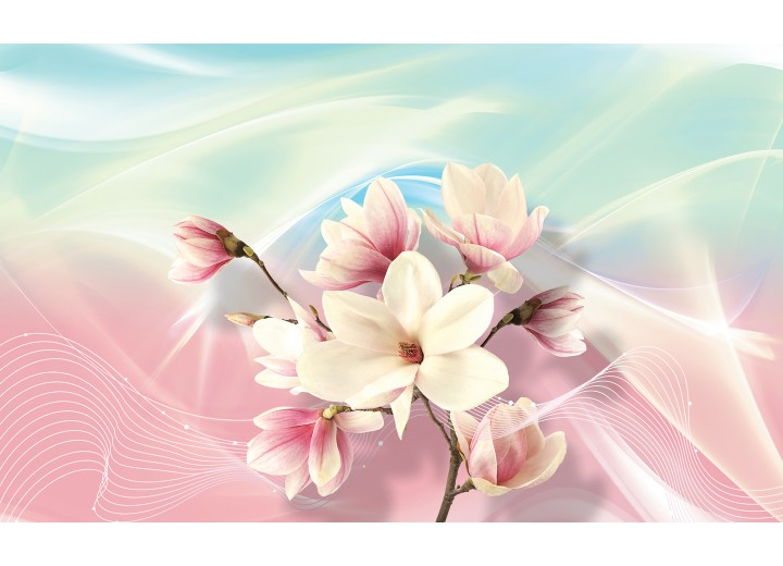 Fotobehang Vlies   Magnolia, Bloem   Roze   254x184cm