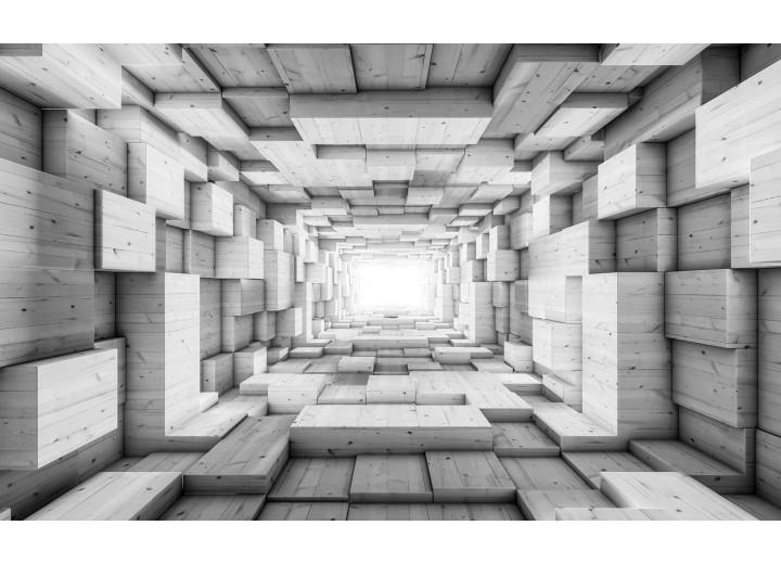 Fotobehang Vlies | 3D, Hout | Grijs | 254x184cm