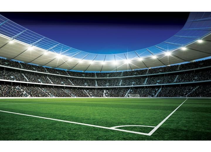 Fotobehang Vlies | Voetbalveld | Blauw, Groen | 254x184cm