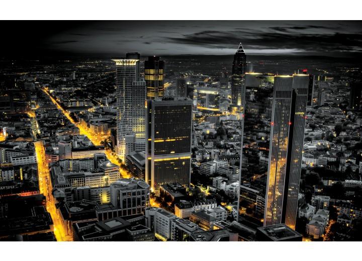Fotobehang Vlies | Skyline | Grijs, Geel | 254x184cm