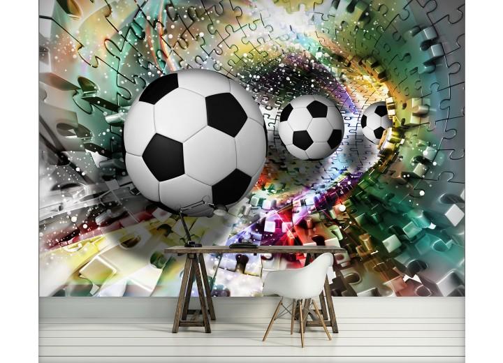 Fotobehang Papier Voetbal | Turquoise, Geel | 254x184cm