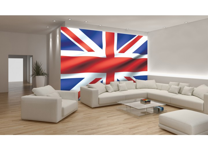 Fotobehang Papier Vlag | Blauw, Rood | 254x184cm