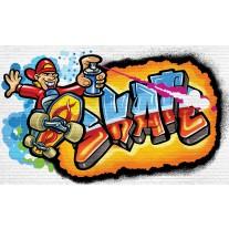 Fotobehang Papier Graffiti | Blauw, Oranje | 254x184cm