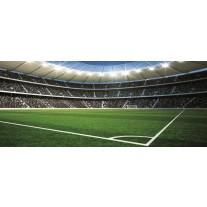Fotobehang Voetbalveld | Blauw, Groen | 250x104cm