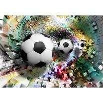 Fotobehang Papier Voetbal | Turquoise, Geel | 368x254cm