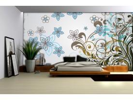 Fotobehang Vlies | Bloemen | Grijs, Blauw | 254x184cm