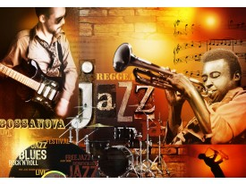 Fotobehang Muziek | Bruin, Oranje | 312x219cm