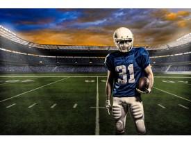 Fotobehang Papier Voetbal | Blauw, Groen | 368x254cm