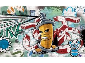 Fotobehang Graffiti | Groen, Blauw | 312x219cm