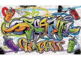 Fotobehang Graffiti, Street art | Geel | 312x219cm