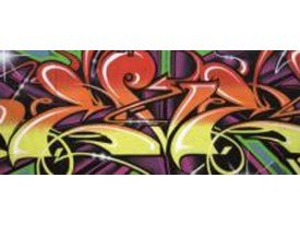 Fotobehang Graffiti, Street art | Blauw | 250x104cm