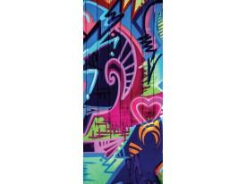 Deursticker Muursticker Graffiti | Blauw, Roze | 91x211cm