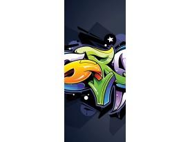 Fotobehang Graffiti | Groen, Oranje | 91x211cm