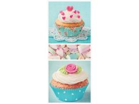 Deursticker Muursticker Cupcake | Turquoise, Roze | 91x211cm
