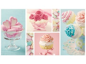 Fotobehang Snoepjes | Turquoise, Roze | 152,5x104cm