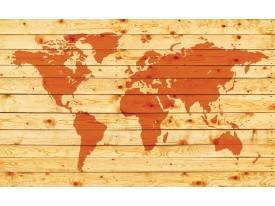 Fotobehang Papier Wereldkaart | Oranje | 254x184cm