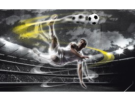 Fotobehang Voetbal | Grijs, Geel | 152,5x104cm