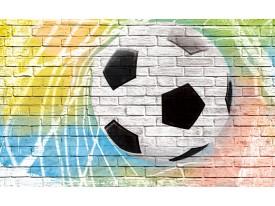 Fotobehang Papier Voetbal, Muur | Geel | 254x184cm
