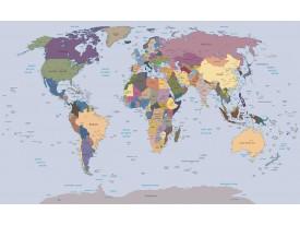 Fotobehang Papier Wereldkaart | Blauw | 368x254cm