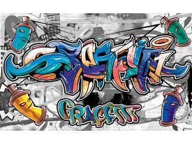 Fotobehang Graffiti | Grijs, Blauw | 152,5x104cm
