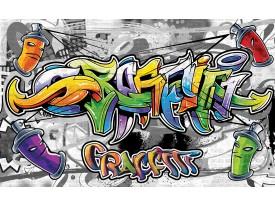 Fotobehang Graffiti | Grijs, Geel | 104x70,5cm