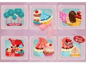 Fotobehang Papier Snoepjes | Roze, Blauw | 368x254cm