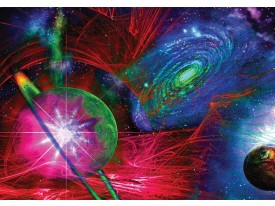 Fotobehang Papier Planeten | Blauw, Rood | 254x184cm